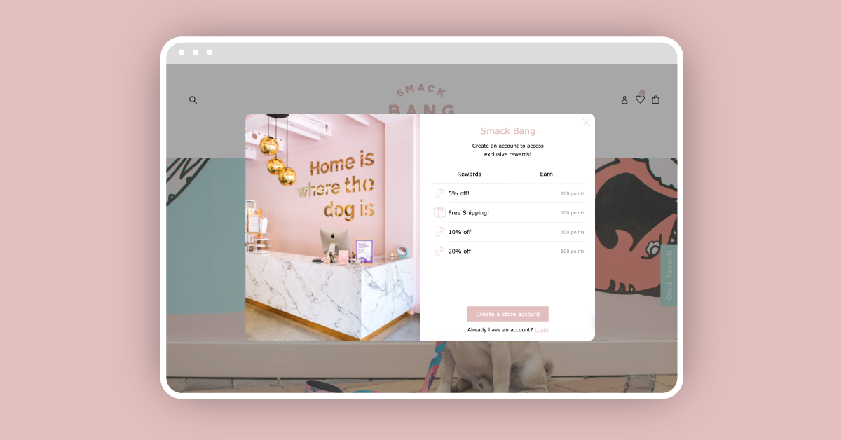 Smack Bang's Center Panel loyalty widget on a pink background