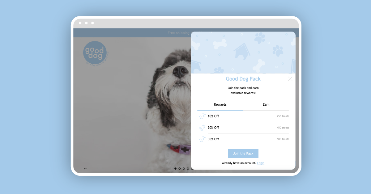 Good Dog's Floating Panel loyalty widget on a blue ground.