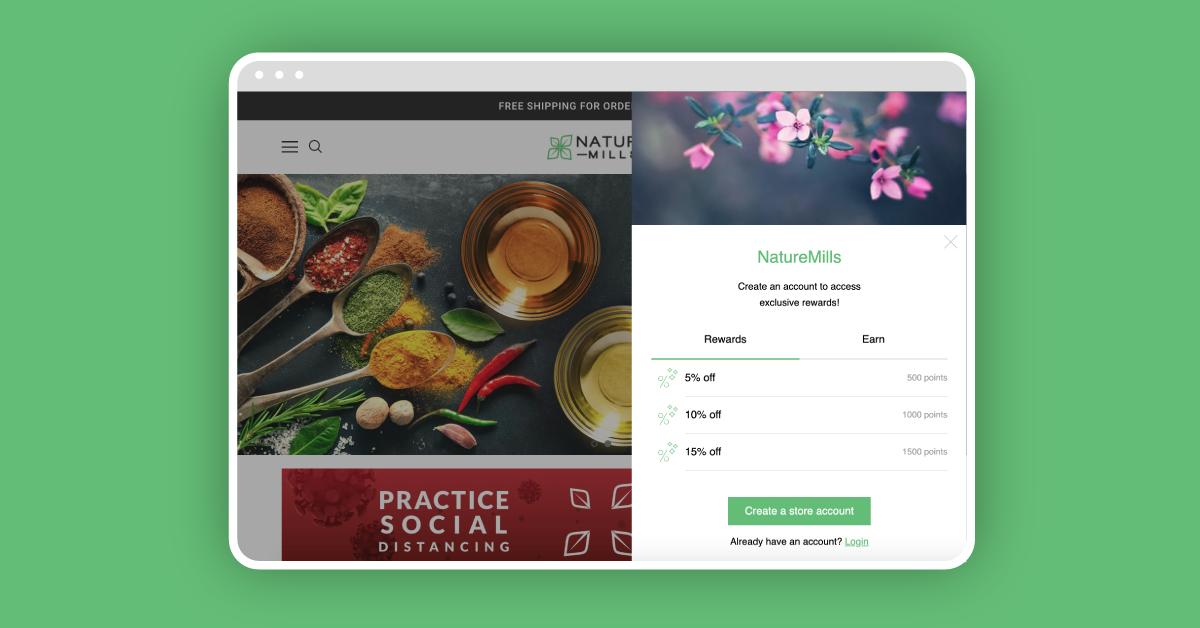 NatureMills' Slide Panel loyalty widget on a green background.