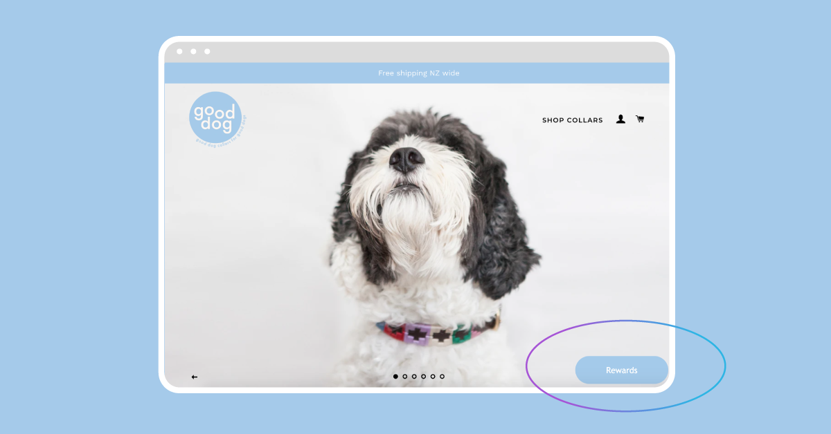 Marsello's 'Floating' loyalty tab at the bottom right of Good Dog's homepage