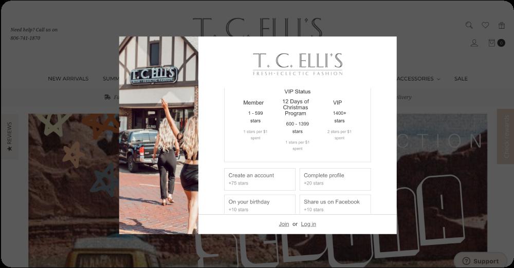 T.C. Elli's online loyalty widget with VIP tiers