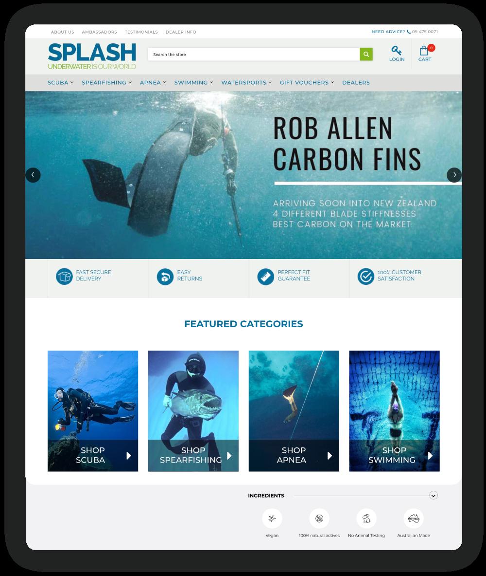 Splash's featured categories on their online store
