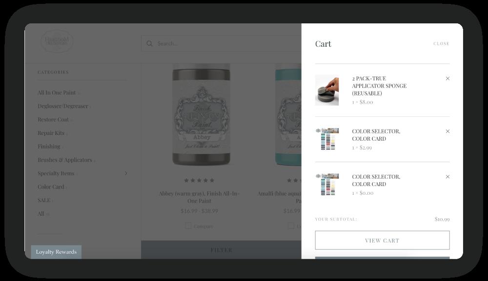 Heirloom Tradition's online cart