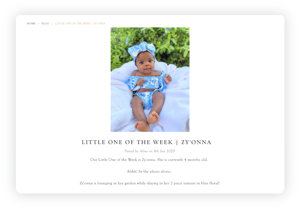 Kate Quinn's 'Little One of the Week' blog featuring Zy'onna