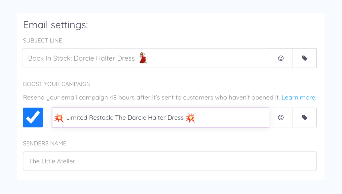 """An email boost set-up with the secondary subject line of """"Limited Restock: The Darcie Halter Dress"""""""