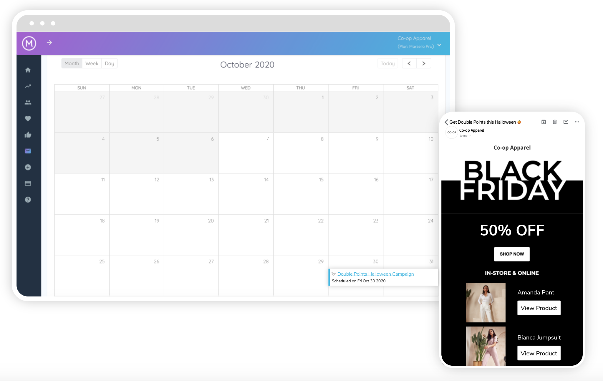 Marsello's Marketing Calendar with a campaign scheduled for the future.