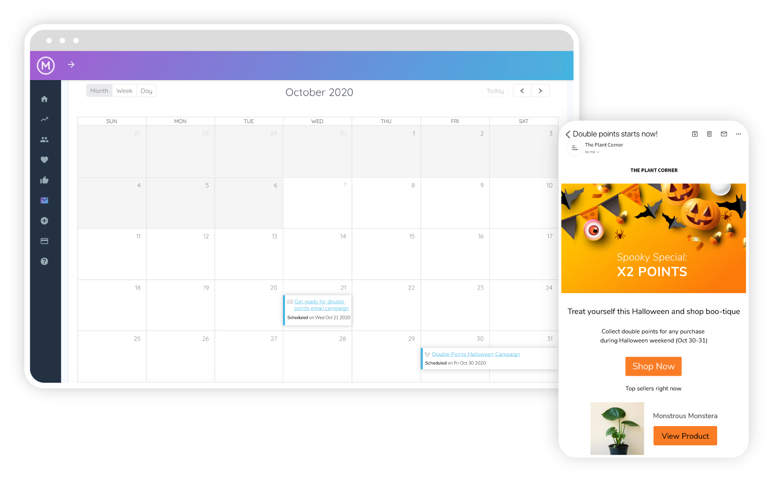Marsello marketing calendar with halloween promotions scheduled.