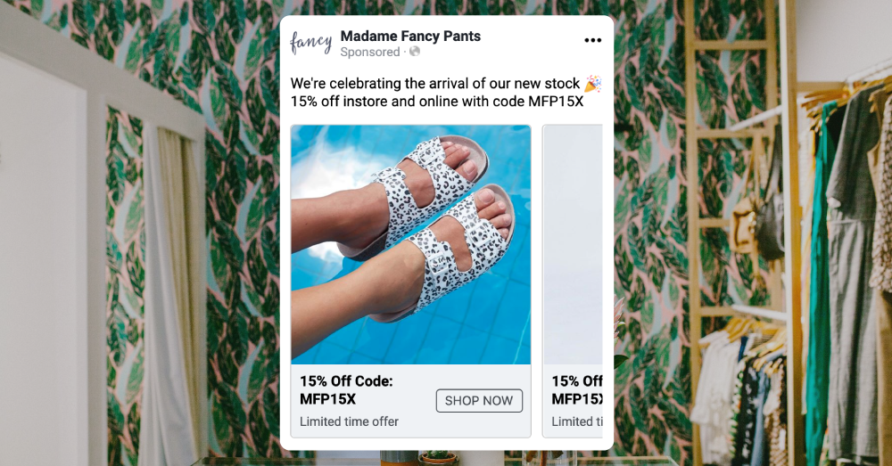Madame Fancy Pants uses a Facebook ad carousel to marketing a 15% off discount featuring leopard print Birkenstocks over a swimming pool.