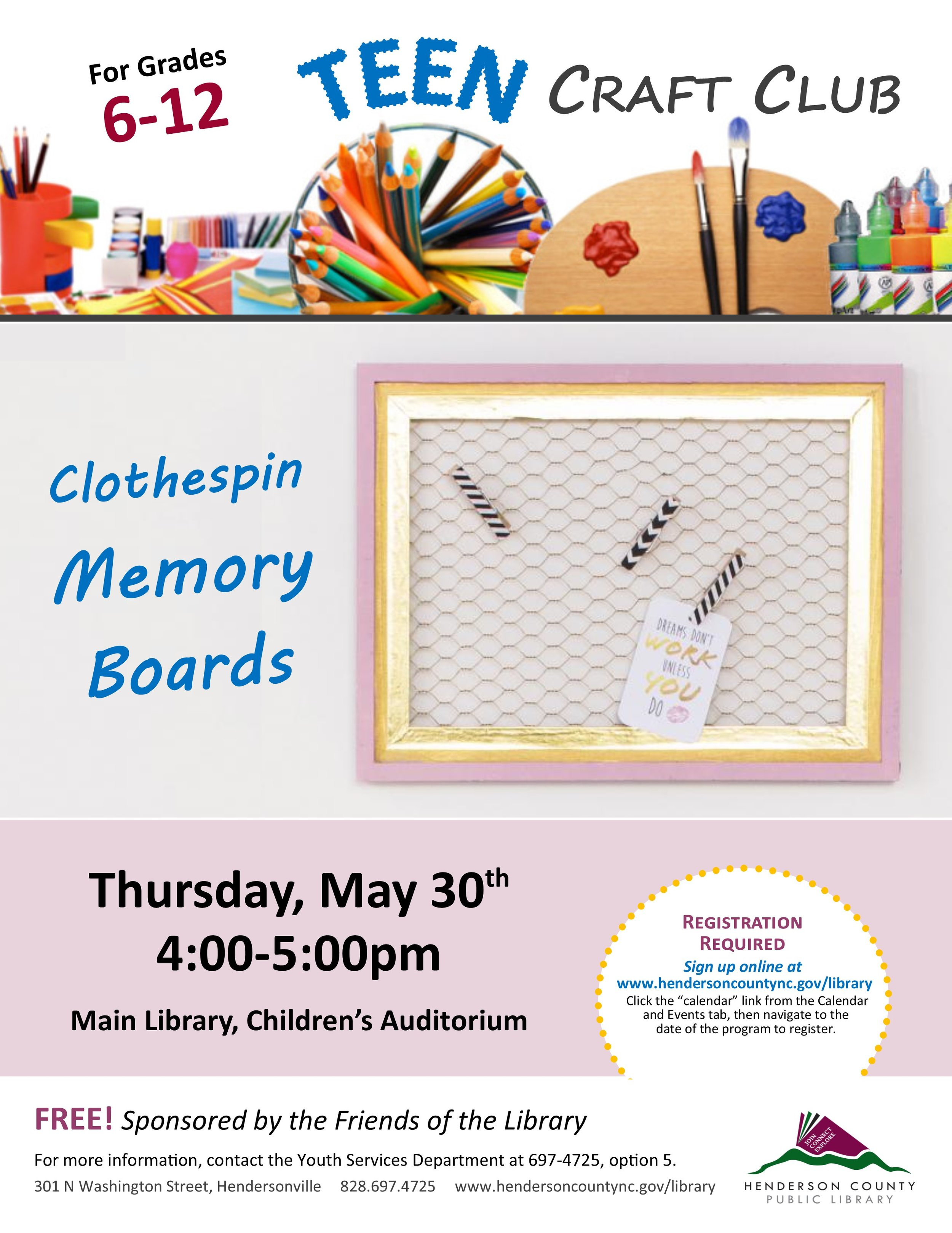 Teen Craft Club May 2019 Clothespin Memory Boards.jpg