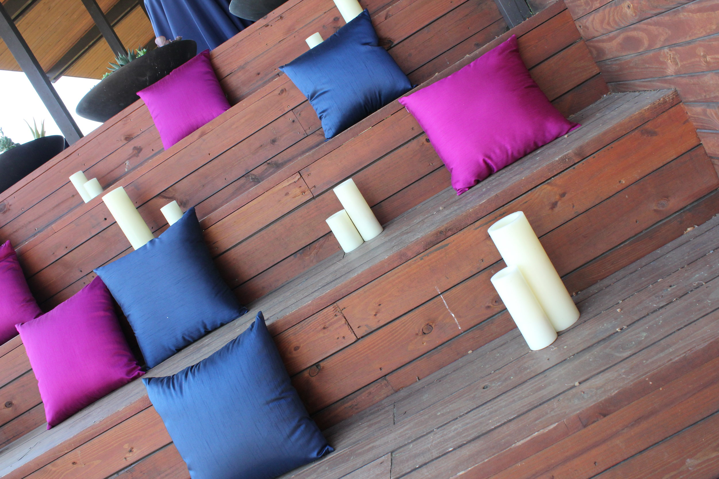 navy and pink pillows and LED candles on Yew Dell stairs (1).JPG