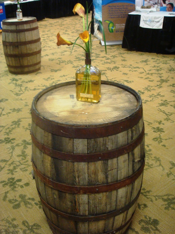 Bourbon Barrel with Centerpiece as Cocktail Table.JPG