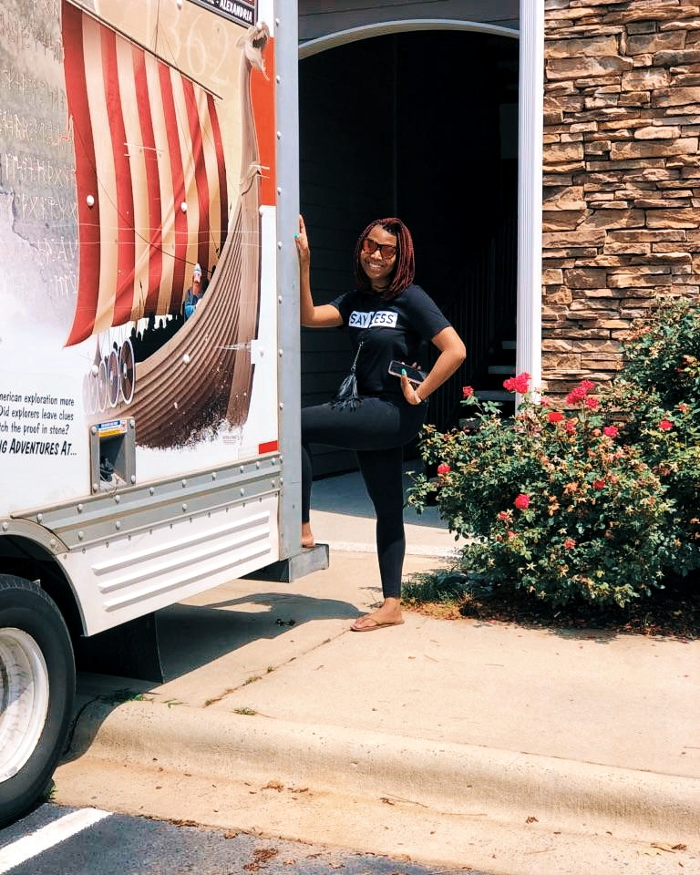 "Posing in between the stress of loading and unloading ALL of my possessions.  ""Say Less"" t-shirt available at https://kloudythoughts.com/collections/shirts/products/say-less-t-shirt"
