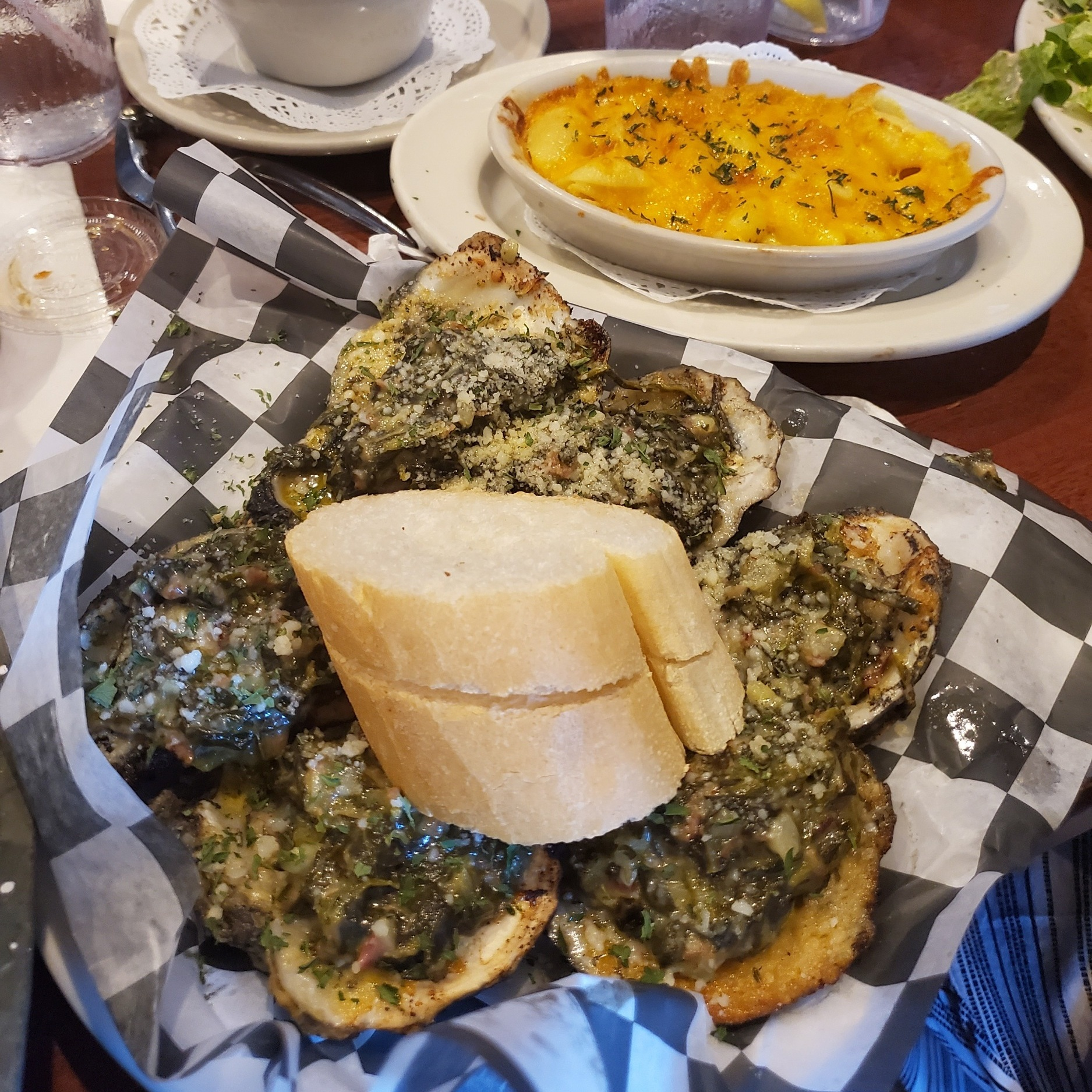 Oysters Rockefeller and macaroni and cheese at The Original French Market
