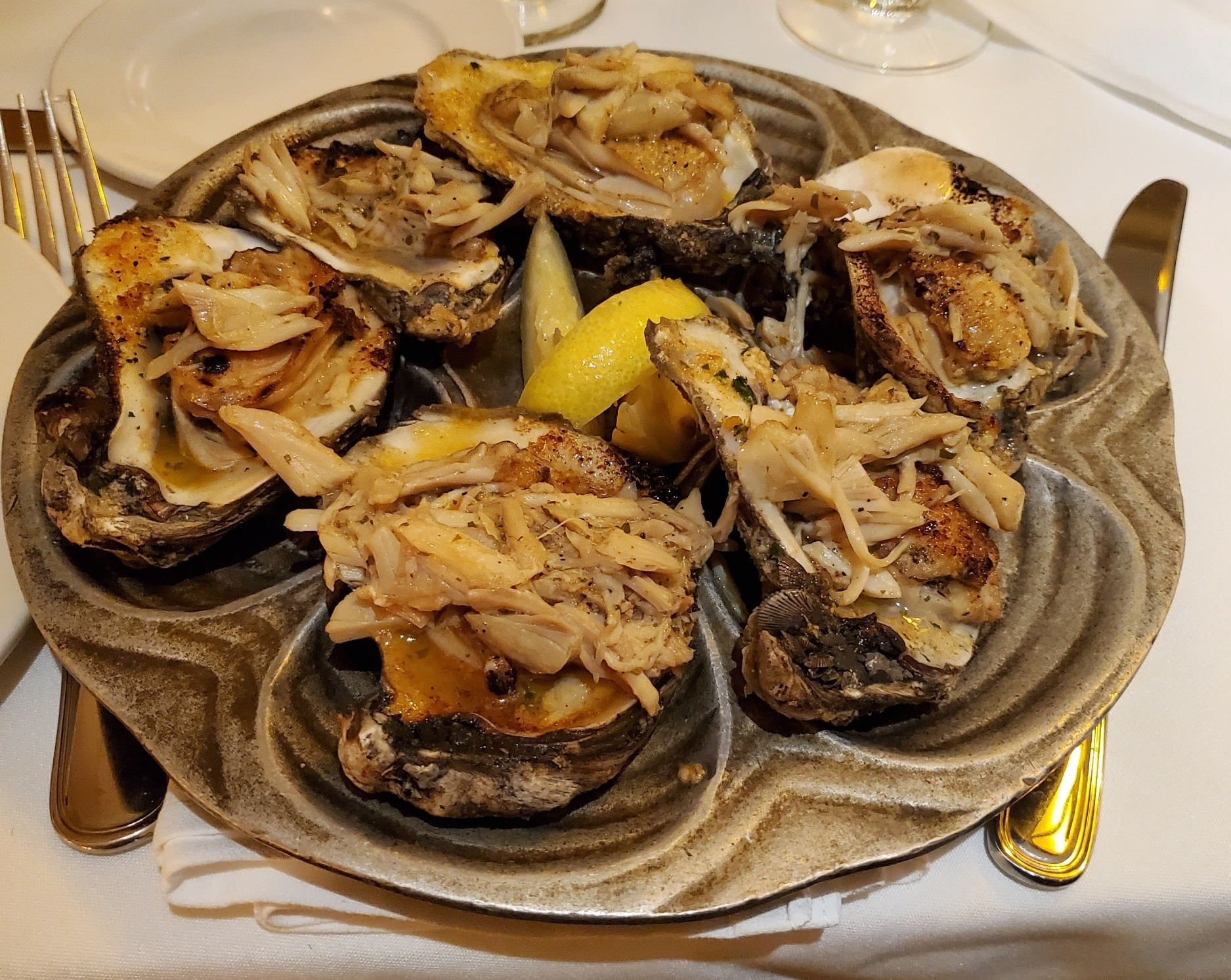 Oysters on the half shell with crab meat at Bourbon House