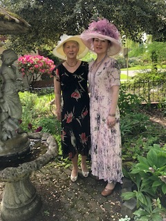 """- Lu Ann and Ann, who is a museum volunteer, took a couple of hats out for a walkabout at Albertina's Place in Portland on Derby Day.Remember:""""A hat is not a hat. It is the expression of a woman's soul."""" ~ Lily Doche"""