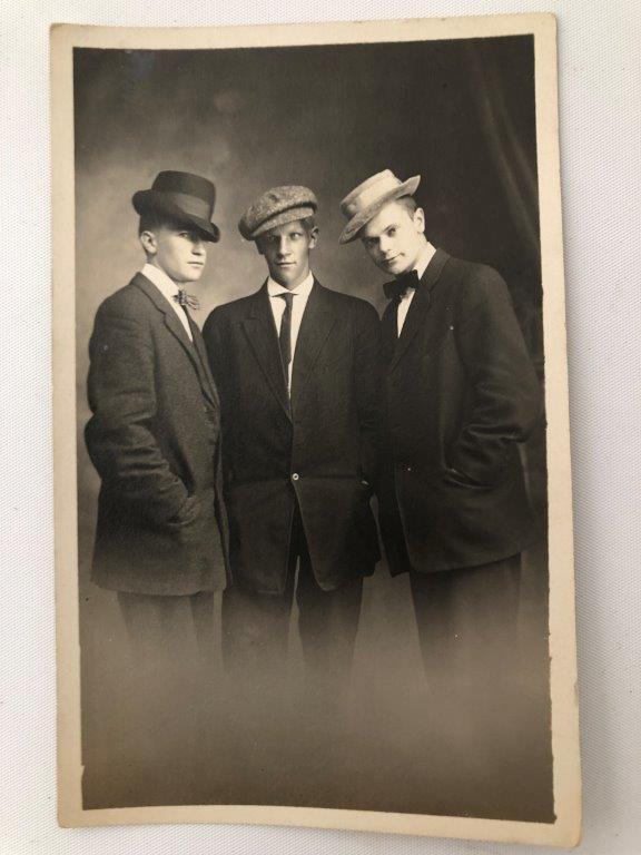 "Talk about ""Hattitude""!  Three dapper gents sporting fashionable men's hats. Circa 1900s"