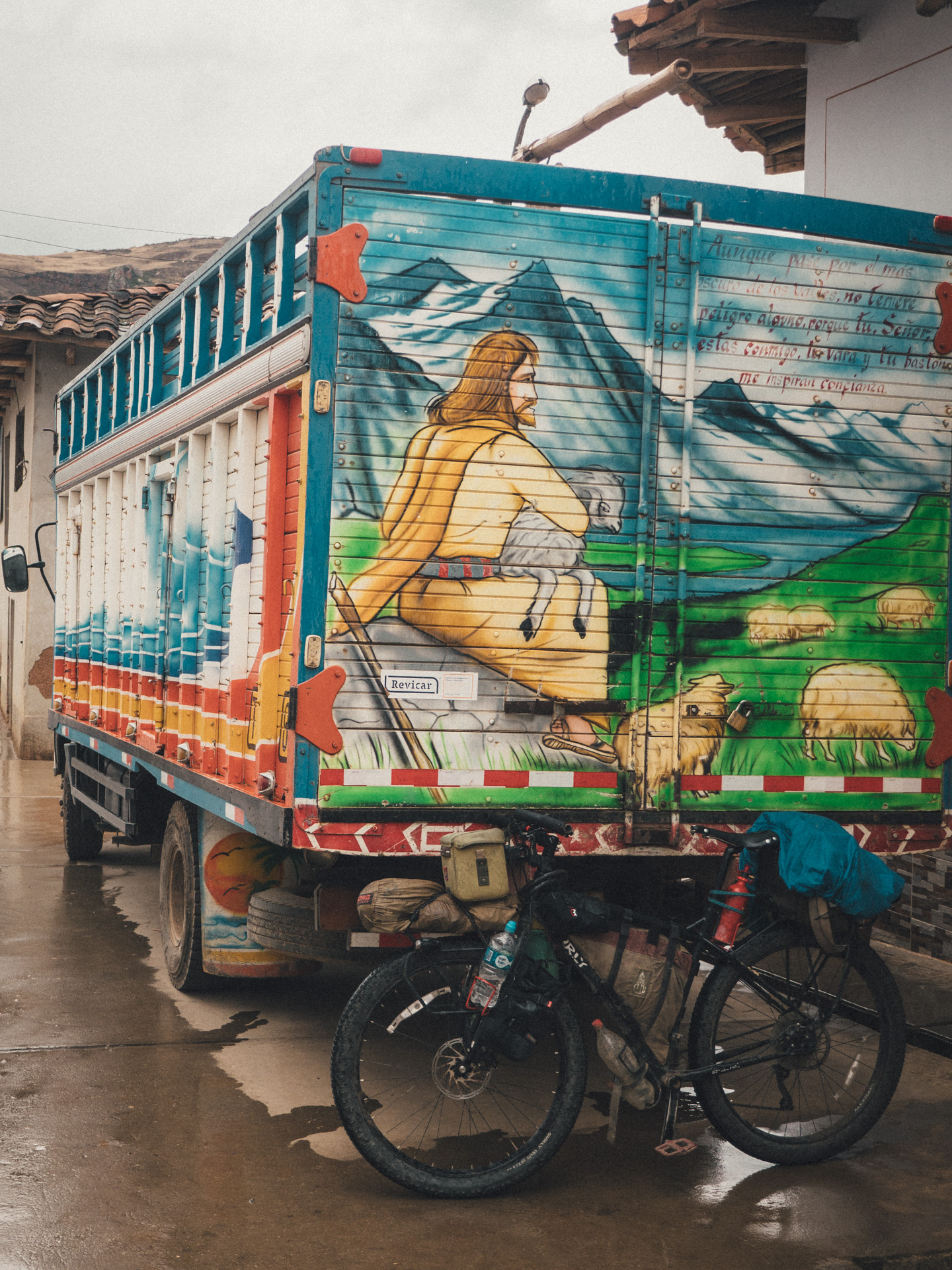 These trucks with Jesus drawings you see all over Peru.