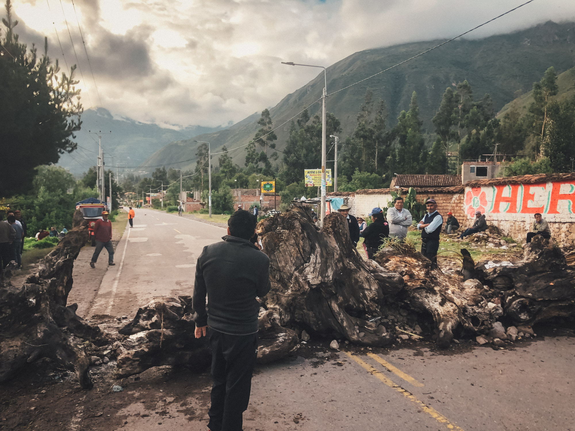 Road block near Urubamba