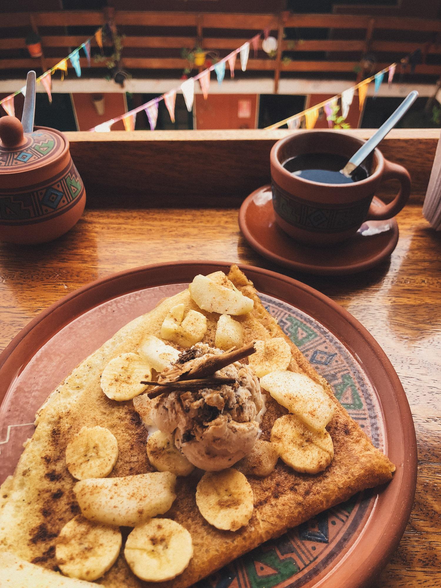 Delicious pancakes with coffee at La Boheme
