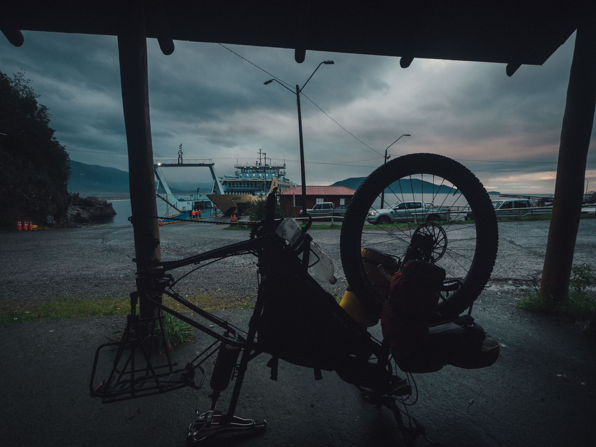 Fixing a puncture after arriving in Chaitén