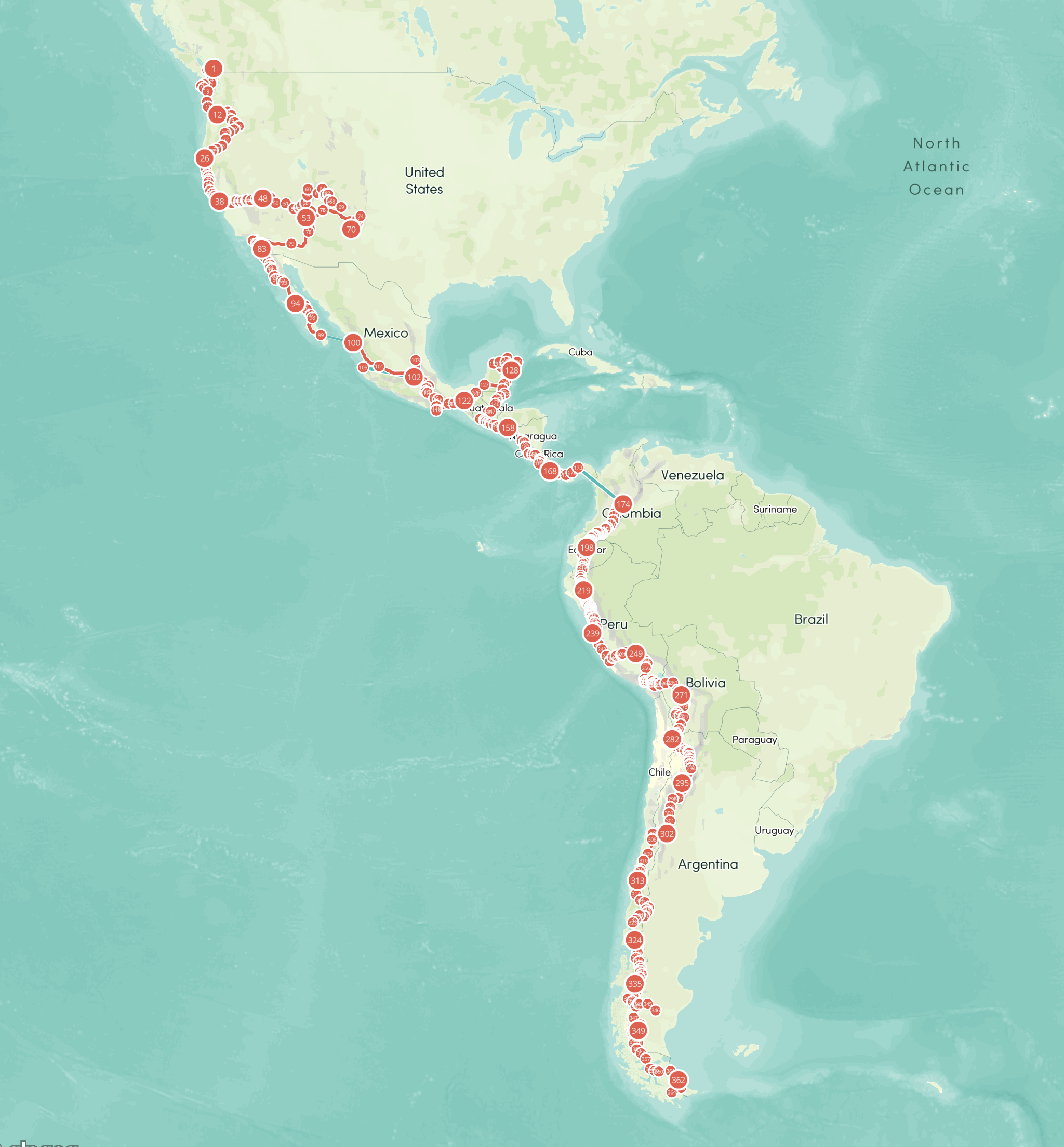 The complete journey from Vancouver, Canada to Ushuaia, Argentina. Every dot on the map is where I spend a night. Of the 816 days on the road I cycled 364 days. The total cycled distance is 19.991 km (this does not include any bus, car or ferry rides). The total elevation gain is 245.000 meter.