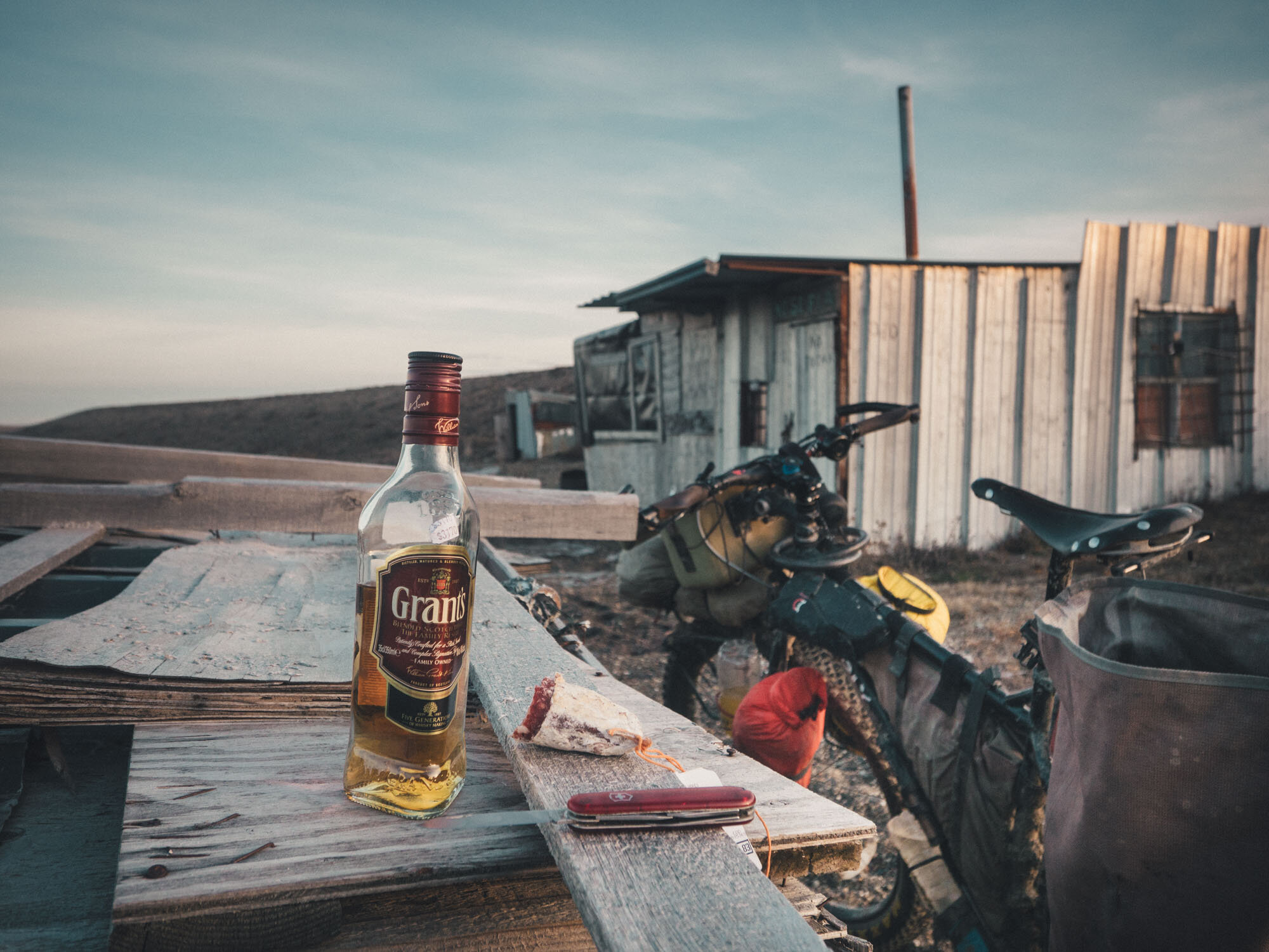 End of the day treat at an abandoned fishing cabin on the beach of the Atlanctic Coast.