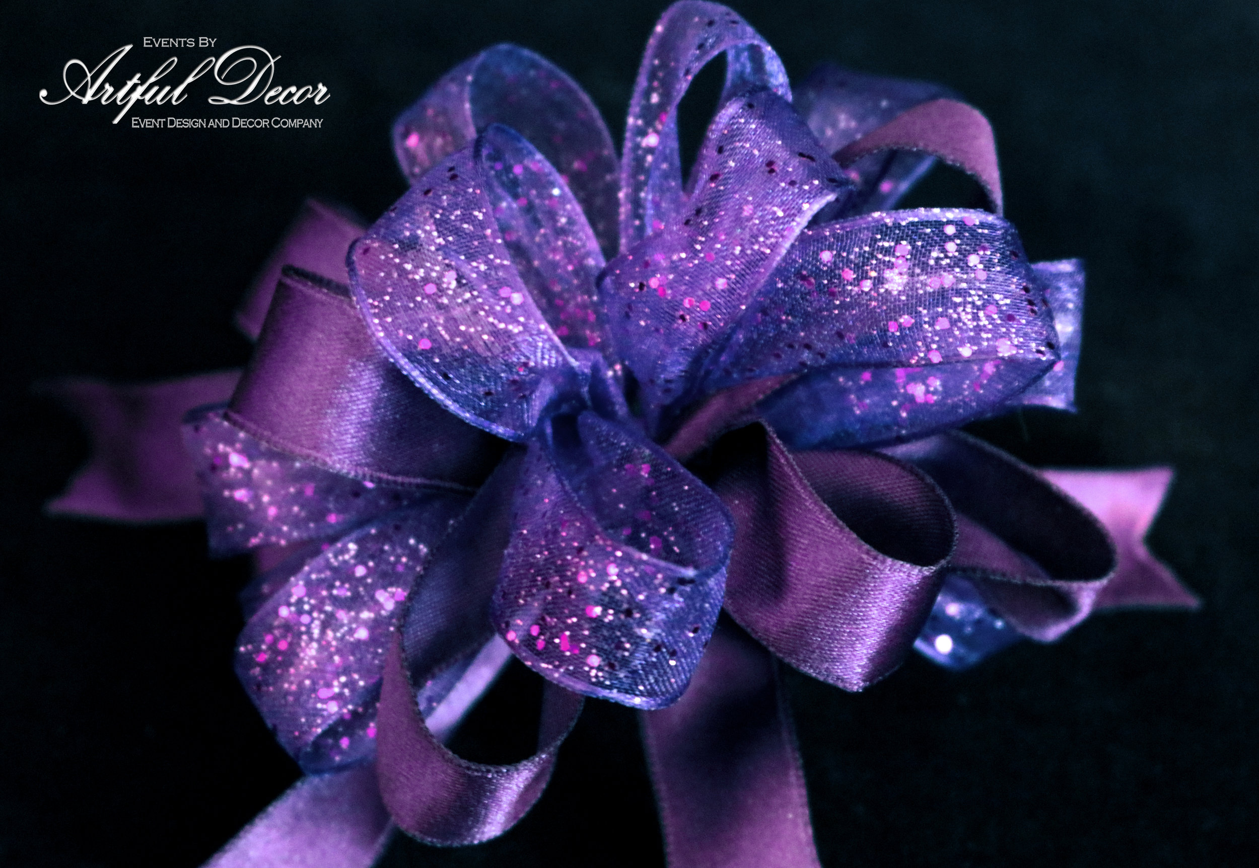 Ultra Violet Chiffon / Magenta Sparkle & Royal Satin