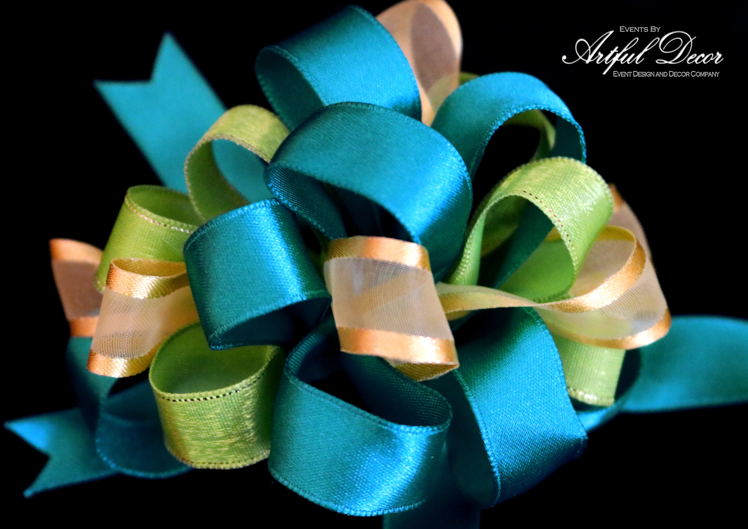 Caribbean Satin & Lime Gold Edge & Yolk Chiffon Satin Edge