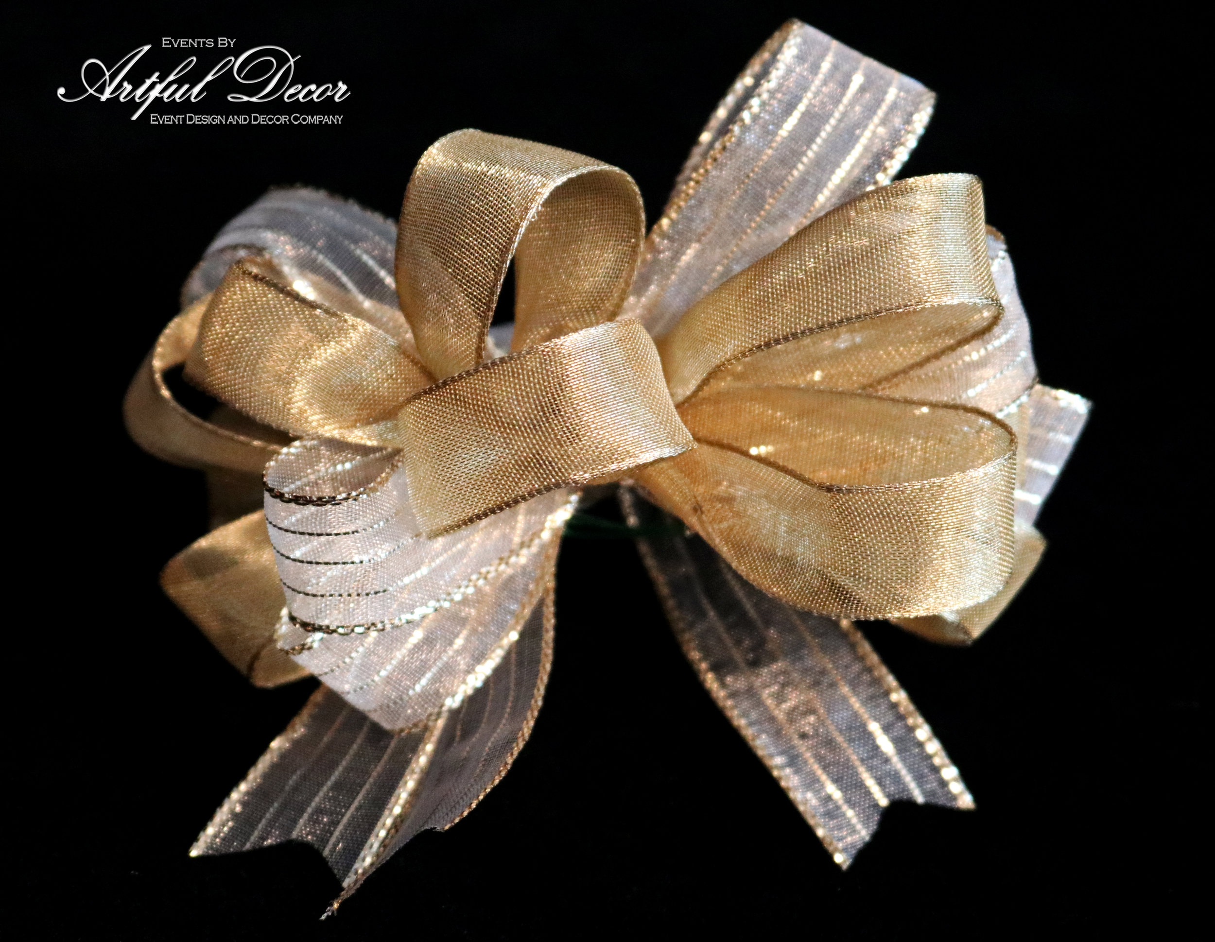 Bridal Chiffon / Metallic Gold Stripe & Gold Luxe