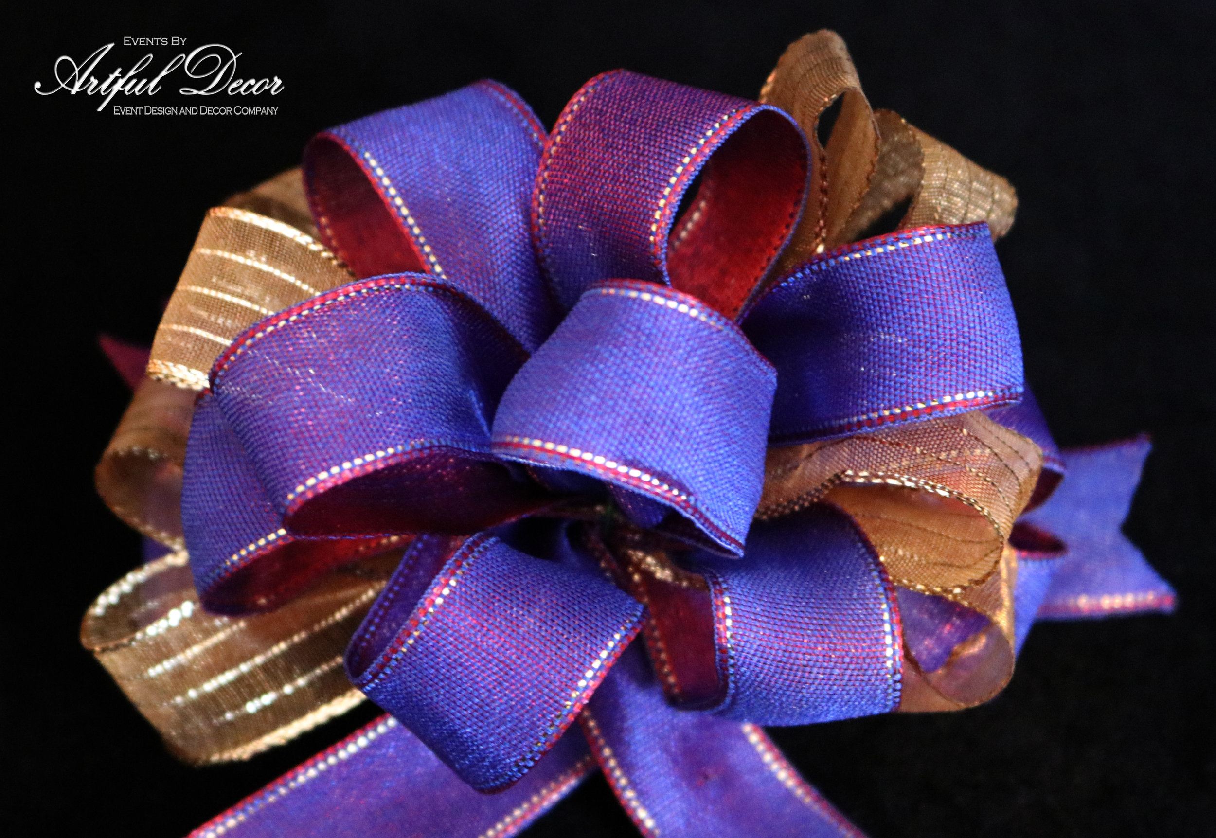 Ruby / Ultra Violet Gold Edge & Gold Chiffon / Metallic Gold Stripe