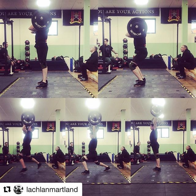 """""""@100daysoftechnique been brilliant to read from and help with this well worth having it with you to refer to."""" . #Repost @lachlanmartland with @get_repost ・・・ 90kg clean jerk from today. Split jerk is something that can bug the life out of me. Been working on this lately trying to remember to bend at the knees and the hips at the same time during the power position without causing a forward lean. Keeping the arms from being to high to help with lock out after the power position.  Still need to work on the receive position as my knee is still tracking forward to much on the front leg. Always room to improve to improve and learn. @100daysoftechnique been brilliant to read from and help with this well worth having it with you to refer to. As always session to finish off the weekend with @less_talk_more_chalk @one__more__rep__ . . . . .#hookgrip #strengthandconditioning #olympiclifting #weightlifting #squats #cleanandjerk #splitjerk #strengthtraining #personaltrainer #improve #technique #100daysoftechnique #army #stab #gym #fitness #weighttraining #olympicweightlifting #blackdeathbarbell #fitfamuk #nottingham #mobility #barbellworkout #training #sundays"""