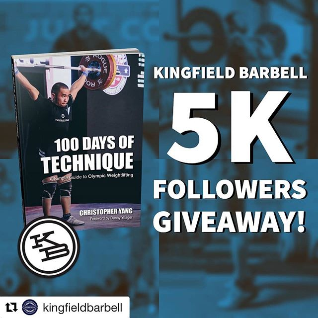 Find out how you could win a copy of the 100 Days of Technique: A Simple Guide to Olympic Weightlifting! . #Repost @kingfieldbarbell with @get_repost ・・・ We reached 5,000 followers! To show our appreciation, we are giving one lucky follower a copy of our @100daysoftechnique book and a @kingfieldbarbell sticker! . To enter the giveaway: 1️⃣ Like this post 2️⃣ Follow @kingfieldbarbell 3️⃣ Follow @100daysoftechnique 4️⃣ Tag 3 friends on the and tell us why you want to win! . We will announce the lucky winner on Sunday, June 16, 2019! . #5kgiveaway #kingfieldbarbell #100daysoftechnique #weightlifting #olympicweightlifting #olylifting #crossfit #snatch #squats #technique #olympiclifting #cleanandjerk