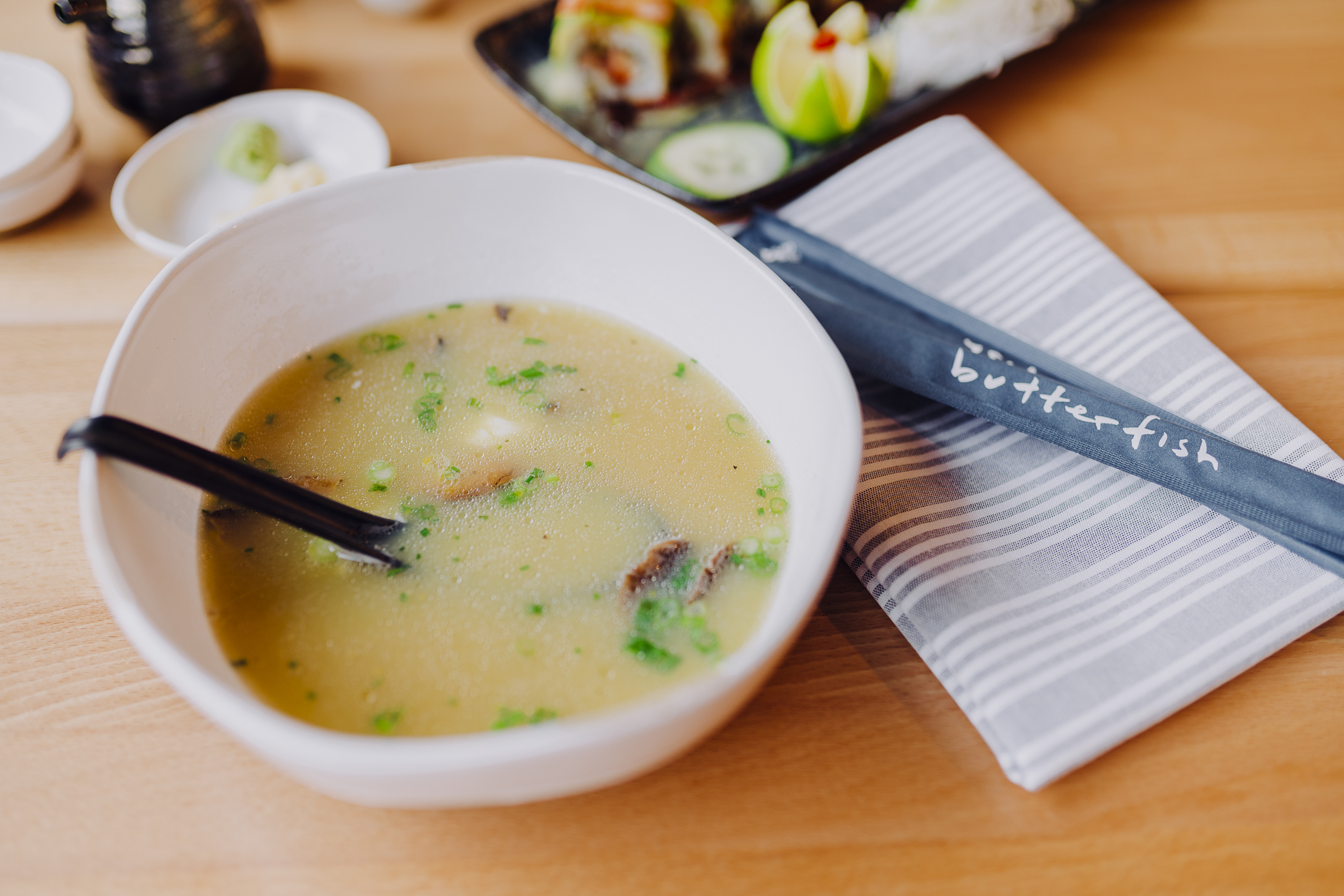 Egg Drop Soup - chicken consomme, enoki mushroom, scallion, chicken fat, shoyu, soft egg