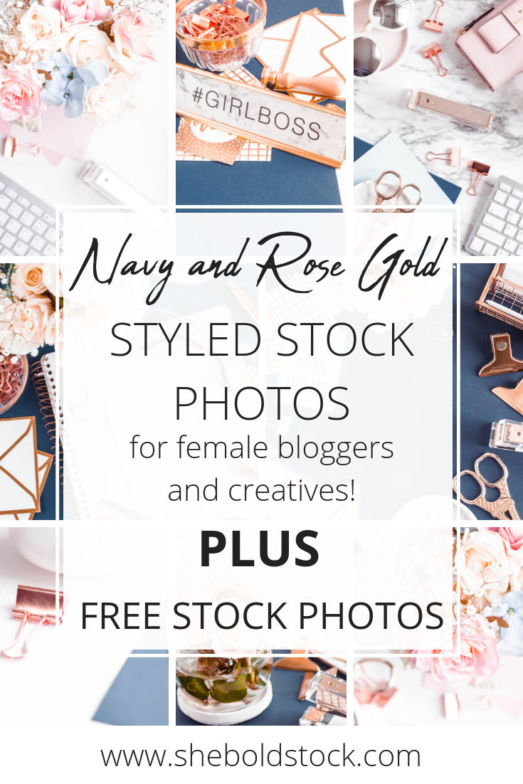 Navy and Rose gold stock photos for female entrepreneurs and bloggers! #stylestockphotos #stockphotos #bloggers #femaleentrepreneurs