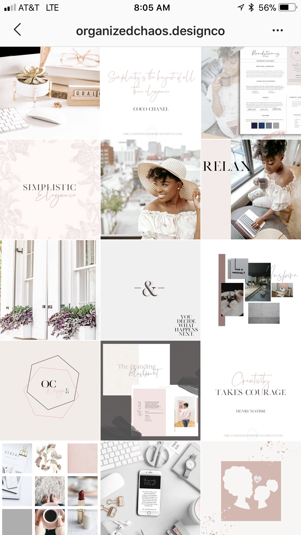 See how she mixed her images and brand elements in to create a gorgeous cohesive feed! -