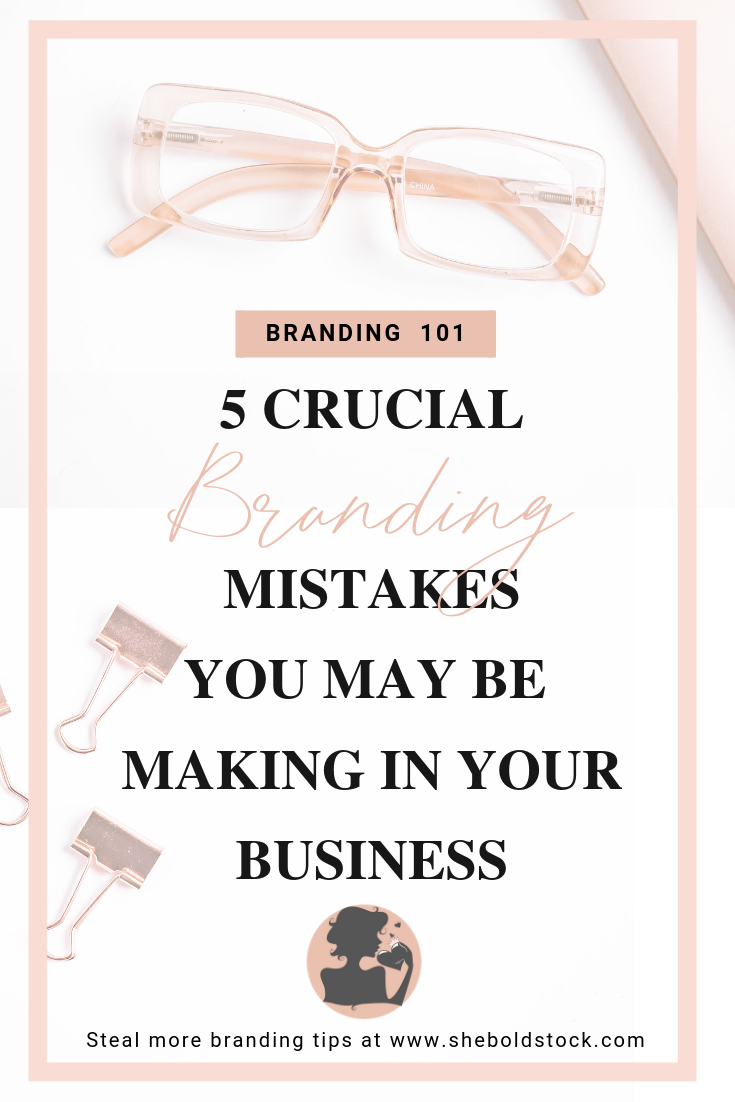 When it comes to starting or leveling up your business. There are 5 key mistakes most business make  when deciding on their brand identity. Take a look to find out what they are! #branding #brandingtips #brandingmistakestoavoid #businessbranding #socialmediabranding