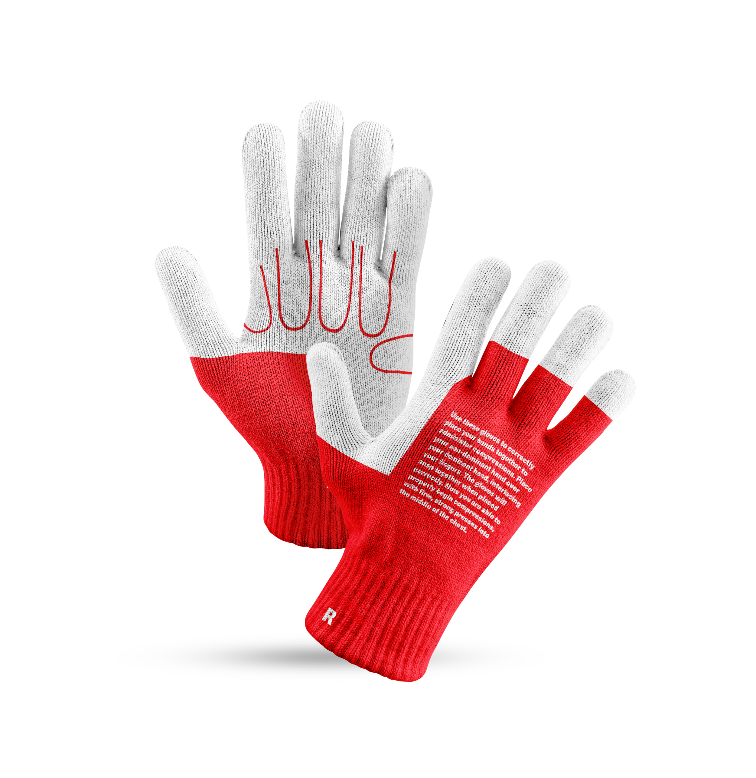 CPR Gardening Gloves. - These teach you the proper hand position for CPR and click when you've got it right.