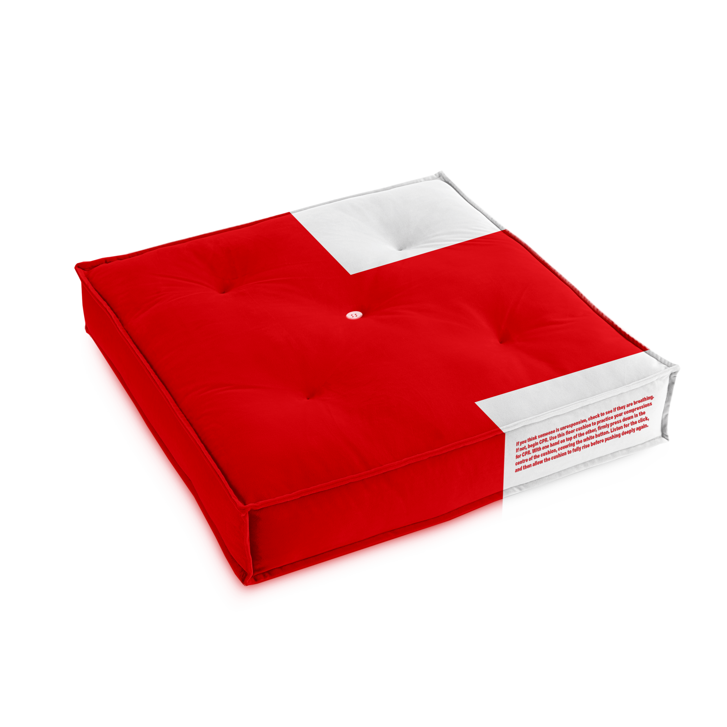 CPR Floor Pillow. - It is made of a thick foam like material that resembles the same resistance as a CPR dummy. When practicing compressions, the pillow will make a clicking noise when you press down using the correct amount of pressure.