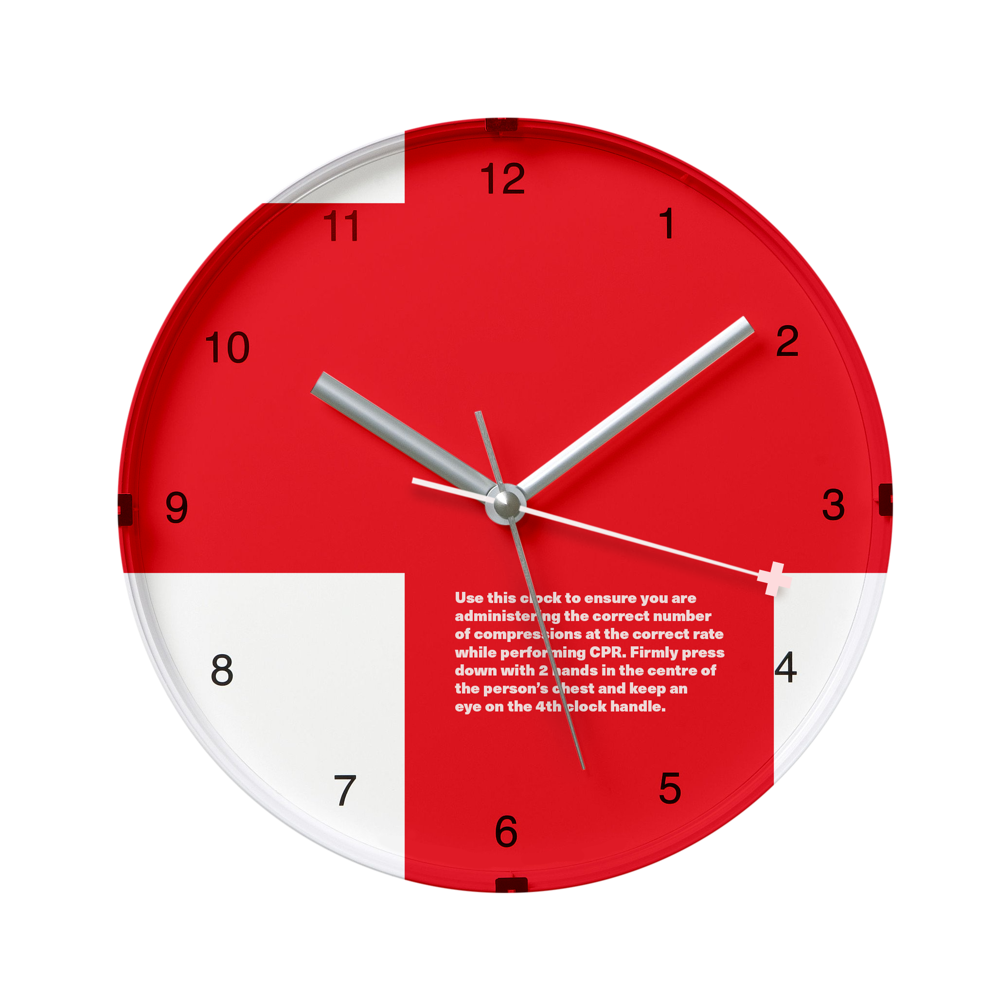 CPR Clock. - This clock has the conventional three hands, as well as a CPR hand that beats 100 ticks per minute keeping you on track for effective compressions.