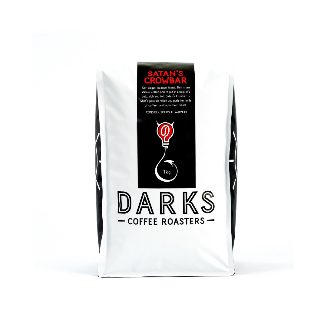 SATAN'S CROWBAR - This is our take on a darker roasted 'Italian style' coffee. It is very different from our core range of coffee and unlike the rest of our range is not named after a piece of musical equipment.We thought Satan's Crowbar was a very fitting name for this blend due to its intensity in flavour. It is our fullest bodied coffee and also has a higher caffeine content due to a small amount of Robusta coffee beans used in the blend. Robusta can be a dirty word in the coffee industry but used in small amounts it adds something that Arabica beans can't in this particular coffee. We use a high grade washed Robusta coffee from India called Kappi Royale. After all if we are going to use Robusta we might as well use the best we can find.This is one seriously strong coffee, so consider yourself warned!Origins: Colombia (Huila), Sumatra (Aceh), India (Kappi Royale Robusta)