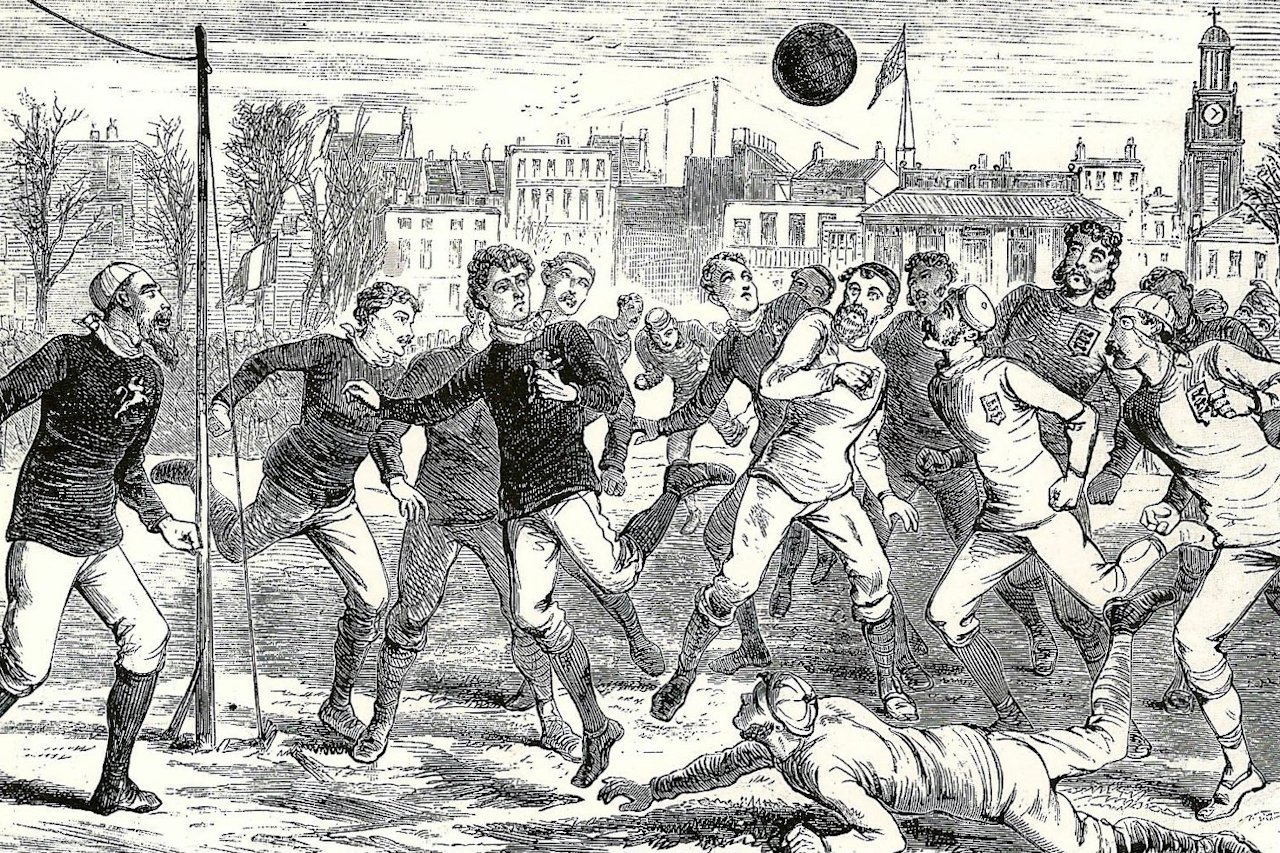 Scotland crowding the penalty area in order to decrease the expected goal value of England's scoring chance - The Oval, 1878.