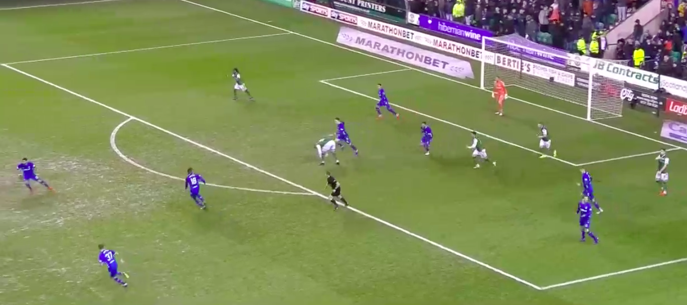 This is when Kamara first gains possession in an opportune situation to trigger a counter attack with Arfield & Candeias (the eventual goal scorer) ready to join him in attack. Also notice that half of Hibs' 10 positional players are now suddenly behind the ball.