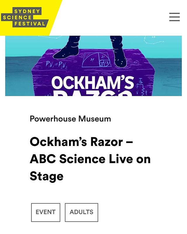 Come see me speak at Sydney science festival this August for Ockham's Razor live! I'll be joining a group of amazing & talented scientists onstage to talk about my research on alcohol around conception & the developing brain. Tickets are on sale now. 🙌 #sydneysciencefestival #abc #ockhamsrazor #sciencecommunication #neuroscience  https://sydneyscience.com.au/2018/event/ockhams-razor-abc-science-live-on-stage/
