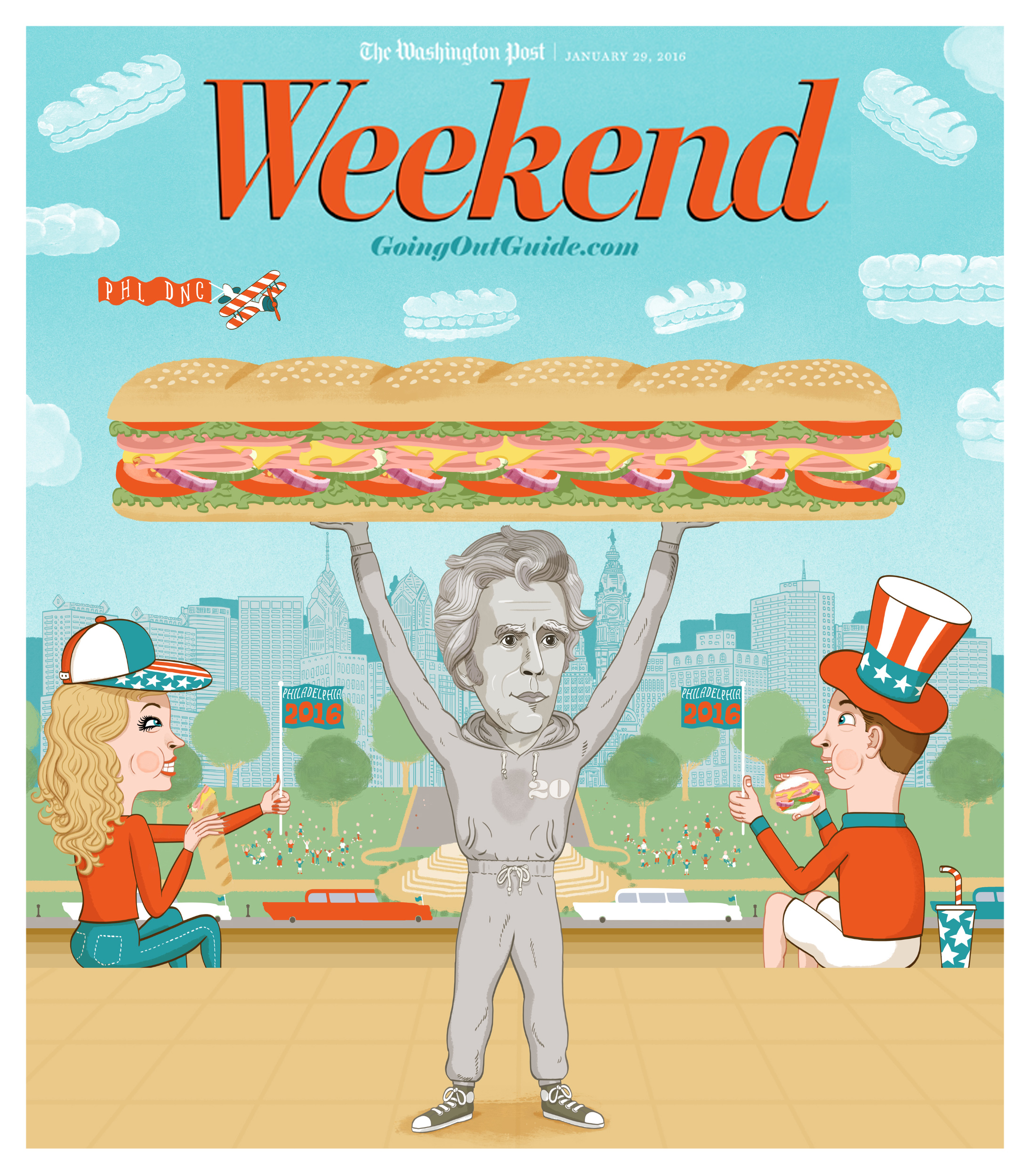 - For the Washington Posts' Going Out Guide, the 20$ Diner section visits the National Democratic Convention in Philadelphia to sample the famous Philadelphia Hoagie. Andrew Jackson, as featured on the 20$ bill is holding aloft his hoagie conquest on those Philly steps made famous by Rocky