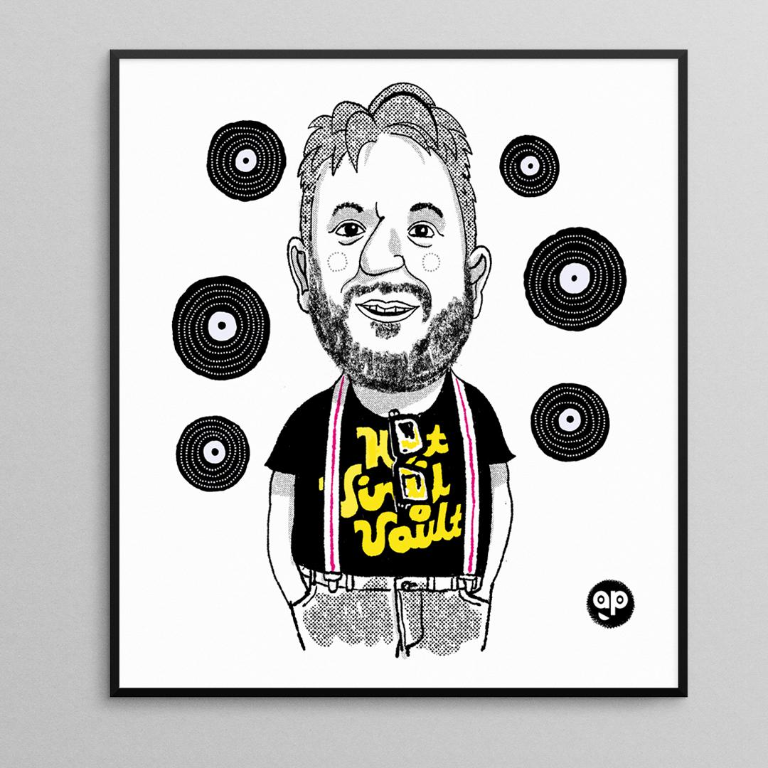 Andrew of Holt Vinyl Vault. Record shop owner, Holt, Norfolk.