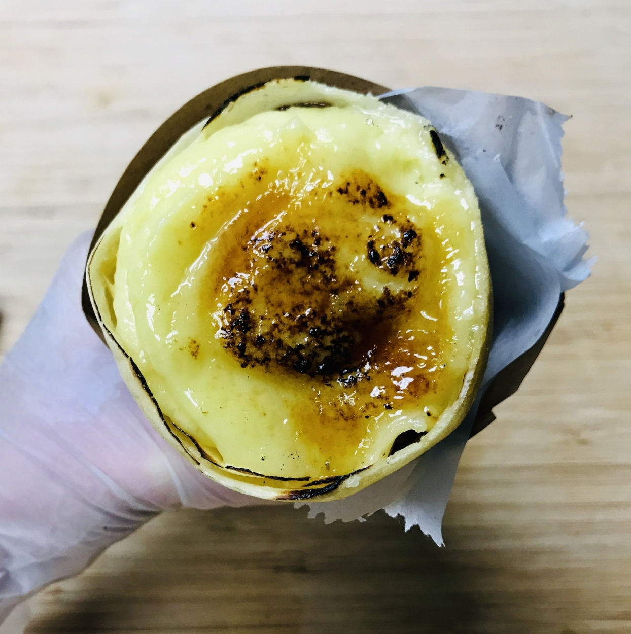 Our Creme Brulee Crepes - Special Japanese crepe batter, each delicious thin crepe is filled with homemade fresh brulee, fresh fruits or real cookies, a scoop of delicious ice cream, then top with a hardened caramelized sugar layer for a perfect finish