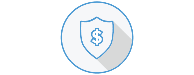 Icon depicting a dollar sign in a shield