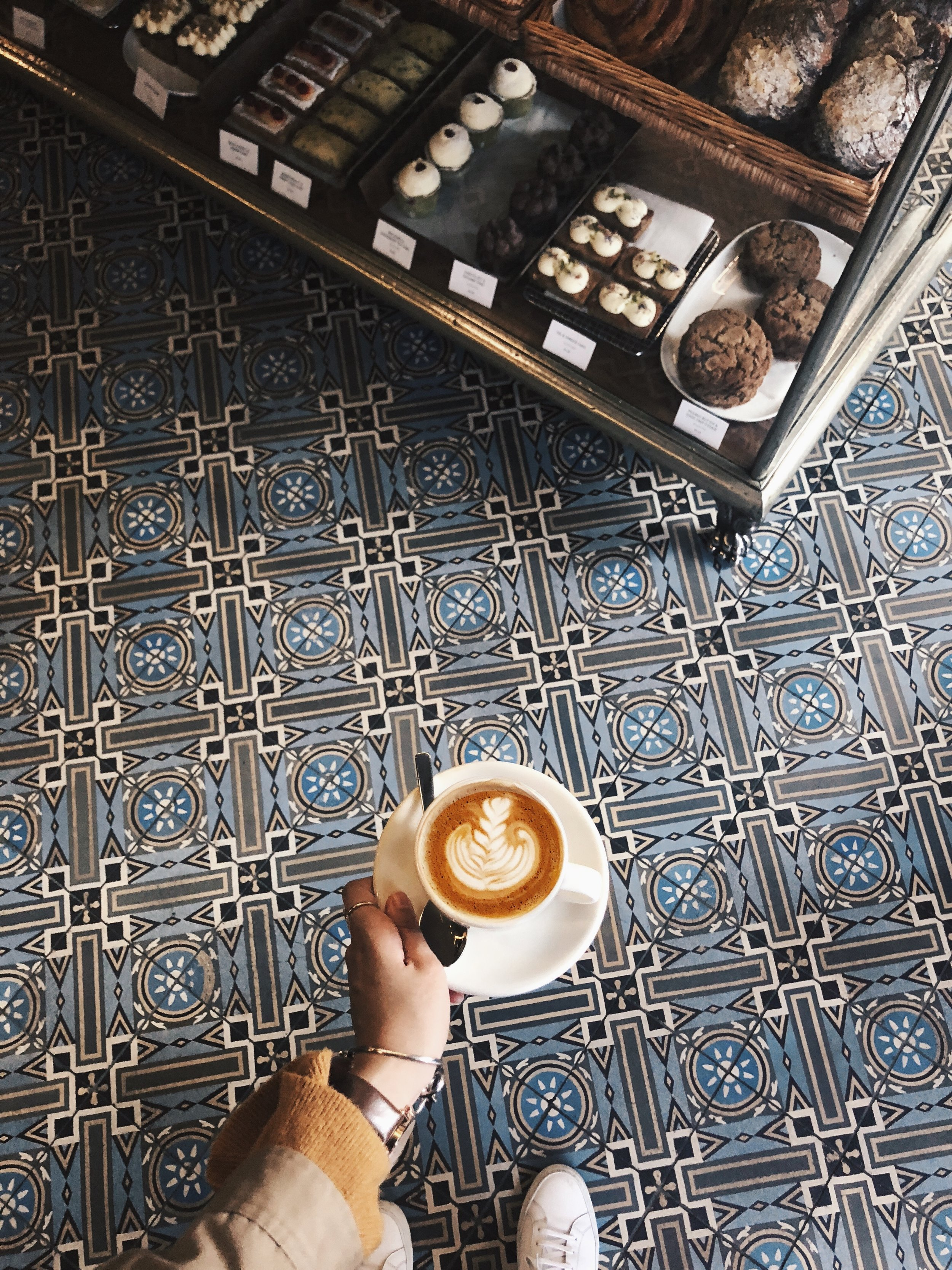 ⩕ ⩚ D U K E S ⩚ /  Dukes Coffee Roasters   A stylish coffee shop on Flinders Lane in CBD which always get so busy every mornings. Other than the great flat white, they also offered a wide variety of pastries and desserts! Don't forget to look down and admire these pretty blue floor tiles.  📍 247 Flinders Ln, Melbourne VIC