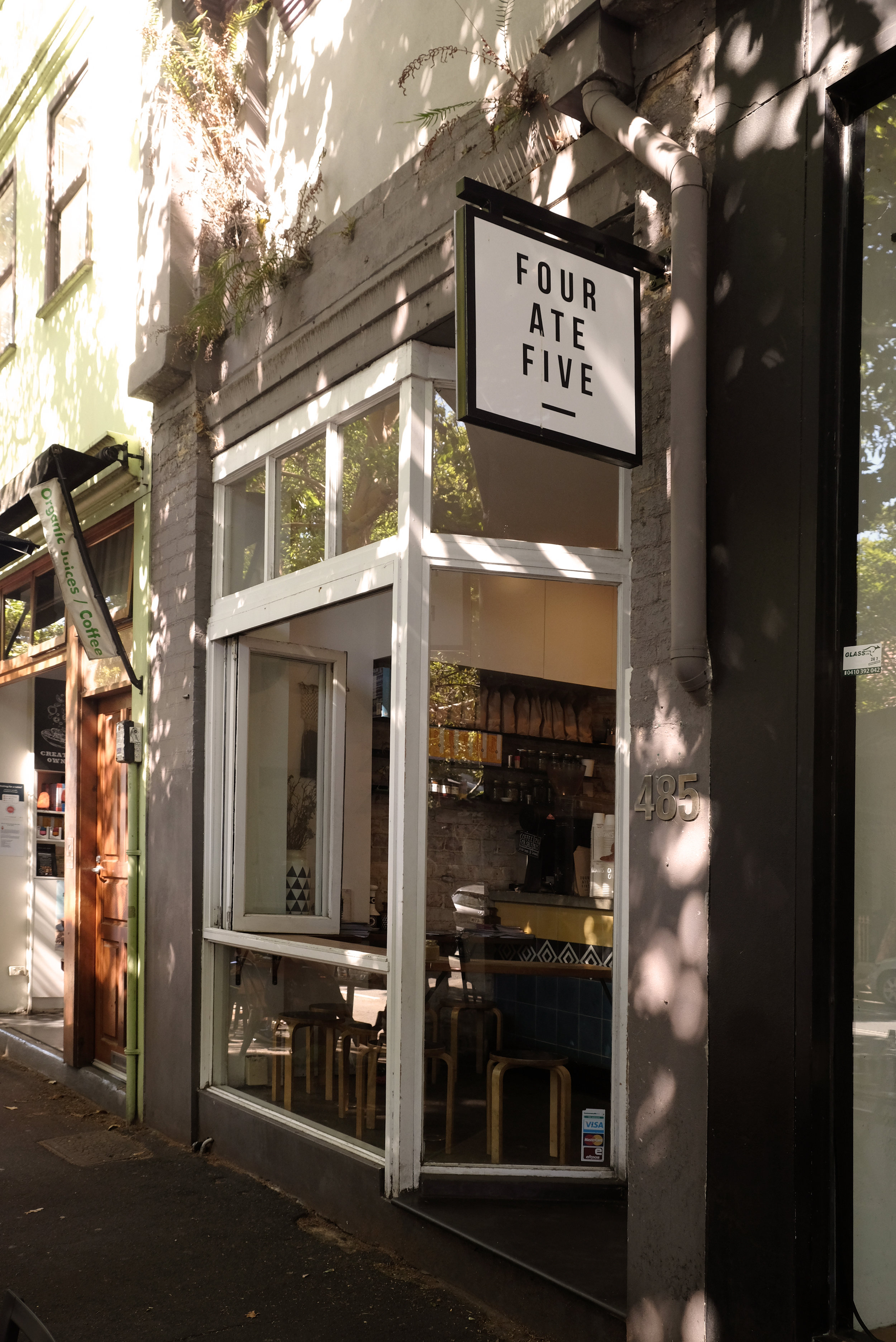 ☁︎F O U R A T E F I V E /  four.ate.five   A lovely and cosy coffee shop spotted in Surry Hills! I would love to sit along the window all day !  📍485 Crown St, Surry Hills NSW