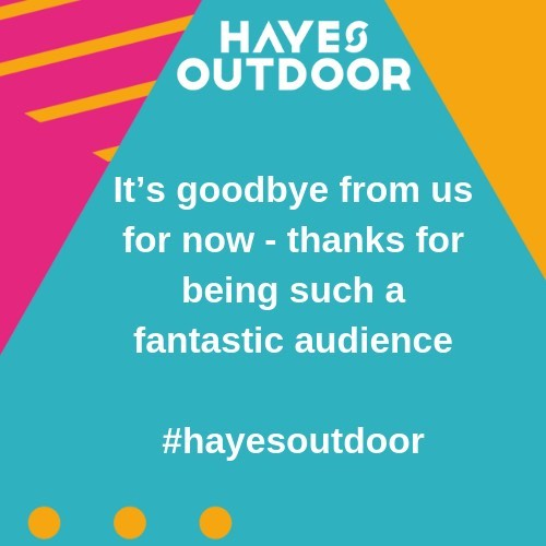 It's goodbye from us for now and thanks to everyone who has made our first #HayesOutdoor festival such a spectacular success. We would like to thank our wonderful audience, performers and supporters and of course out team too. See you in 2019!  @fillagebysurmesure @c12dancetheatre @motionhouse @nofit_state_circus @jolivyann  @barolosolo_cie #cieconcordance @circulatelondon @hillingdoncouncil @heathrow_airport @bruneluni @acegrams @outdoorartsuk